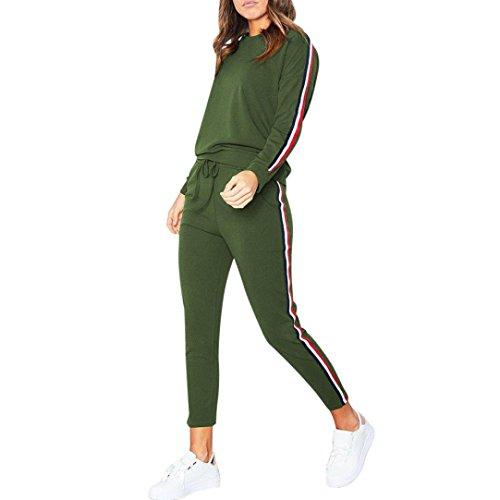 FORH Sportbekleidung Set Damen Einfachheit Langarm Sweatshirt Casual Hoodies Trainingsanzug und bequem Jogging Hosen Gym Sporthose 2 Stück Outfits (M, Grün)