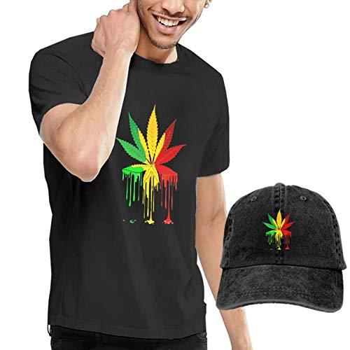 Onita Camiseta deportiva de manga corta para hombre, diseño de hojas de marihuana, color negro