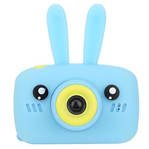 Cámara digital para niños, mini cámara DV digital de 1.2MP con dibujos animados de juguete y diversión con pantalla IPS de 2.0 pulgadas para tomar fotografías/grabar/pegatinas de fotos(Conejo azul)
