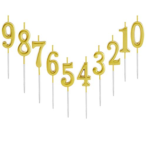 10 Pieces Birthday Candles Cake Numeral Candles Number 0-9 Glitter Cake Topper Decoration for Party, Wedding, Bottle Service, Night Club,Kids ,Adults (Gold)