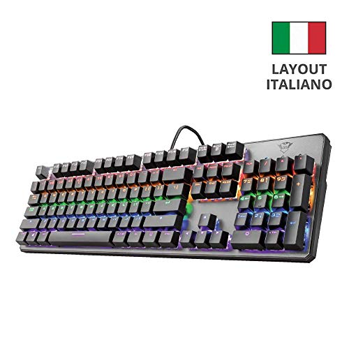 Trust Gaming GXT 865 Asta Tastiera Meccanica Gaming, Nero [Layout Italiano]