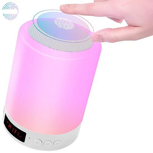 Lámpara de Mesa de Noche, USB Recargable Luz de Nocturna LED Altavoz Bluetooth, Portatil Lámpara Control Tactil Regulable con Despertador, para Escritorio, Habitación, Camping, Ambiente de Interior