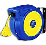 Goodyear Extension Cord Reel Retractable 14AWG x 65' Foot 3C/SJTOW Commercial Cable Triple...