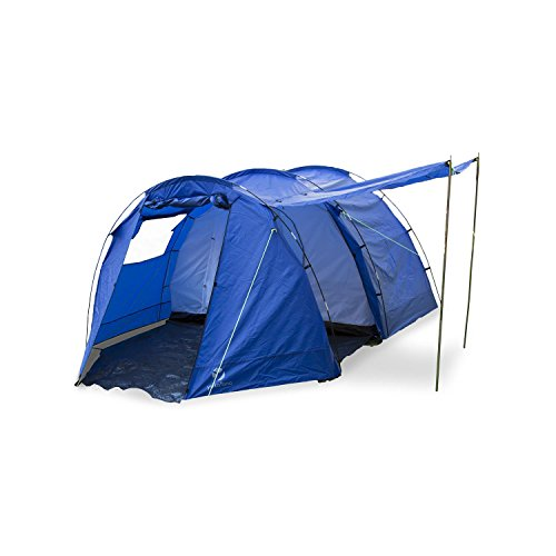 Yukatana Jomida Tienda campaña túnel para 4 Personas 260x150x410 cm (Camping, poliéster Impermeable 3000mm, Tubos Fibra Vidrio, Dormitorio mosquitero, Ventana enrrollable, toldo recibidor, Azul)