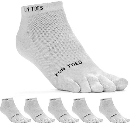 FUN TOES Men's Toe Socks Barefoot Running Socks-Pack of 6 Pairs- Size 10-13 WHITE/GRAY