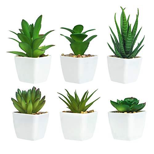 Ouddy 6 Piezas de Plantas Suculentas Artificiales en Macetas, Plantas Suculentas Artificiales Verdes, Utilizadas para Escritorio, Oficina, Sala de Estar y Decoración del Hogar