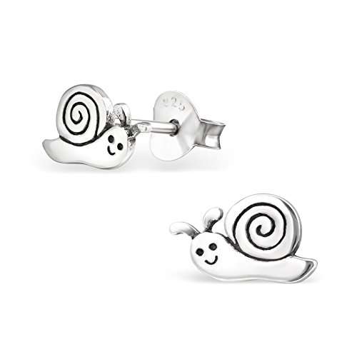 Tata Gisele© Kinder-Ohrringe aus Sterling-Silber 925/000rhodiniert–Schnecke–9mm
