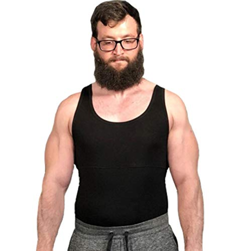 Vanilla Blush Abdominal/Hernia Support Men's Vest … (2X Large, Black)