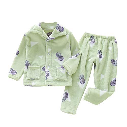 Upxiang - Pijama para niño y bebé, 2 piezas, cálido, para otoño e invierno, franela, diseño de dibujos animados Verde 140 cm