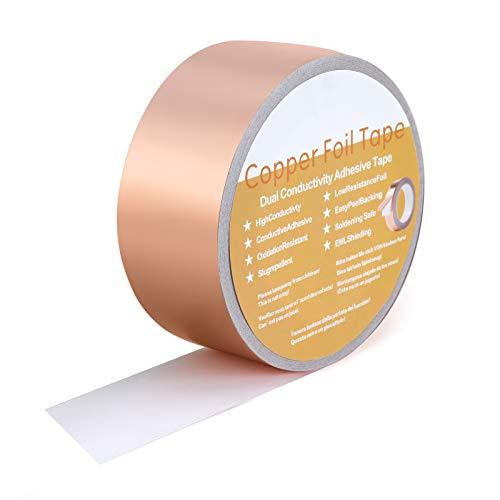 HUTHIM Cinta de Foil de Cobre(50mm×30m), cinta de protección EMI autoadhesiva, Protege...