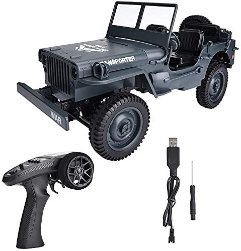 Liiokiy RC Car 2.4GHz camión 4WD 1/10 RC Camión de juguete eléctrico de juguete eléctrico Off-Road con cable USB Adecuado para todos los terrenos Coche de alta velocidad para niños y adultos Niños Boy