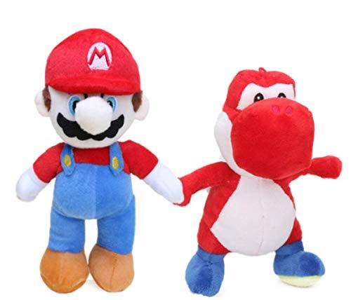 FENGHU Super Mario Spielzeug 2 Stück / Los 25 cm Super Mario Bros Luigi Yoshi Weiches Plüschtier Anime Cosplay Figur Laufen Yoshi Anhänger Schlüsselring Tierpuppen Spielzeug