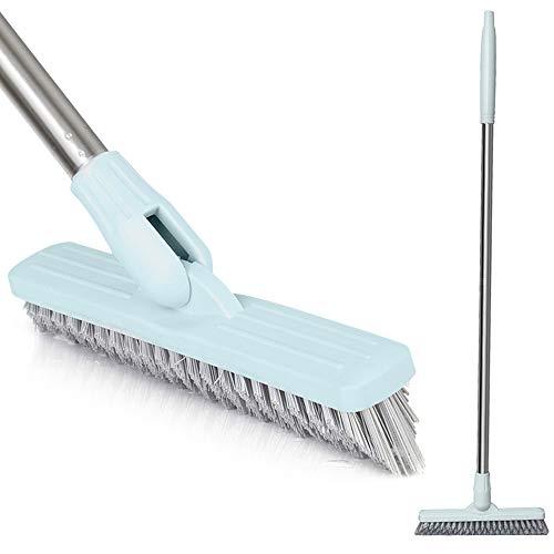 Affogato - Cepillo de limpieza para suelos flotantes (mango largo, bañera, ducha, baldosas, lechada, cocina para interiores y zonas difíciles de alcanzar, color blanco