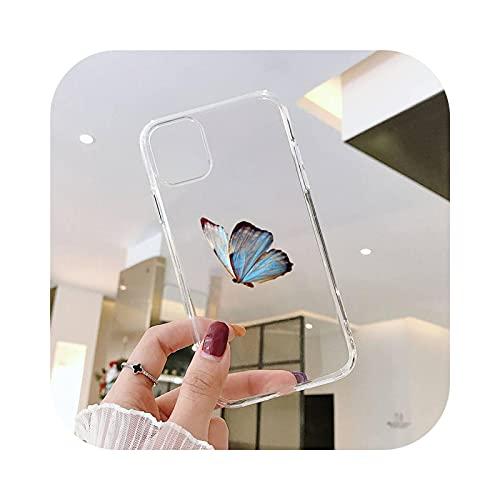 Carcasa para iPhone 12, diseño de mariposa, diseño de anime, transparente