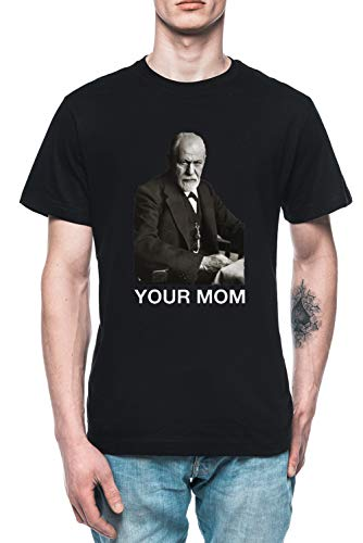 Your MOM Sigmund Freud - Freud Herren T-Shirt Tee Schwarz Men's Black T-Shirt