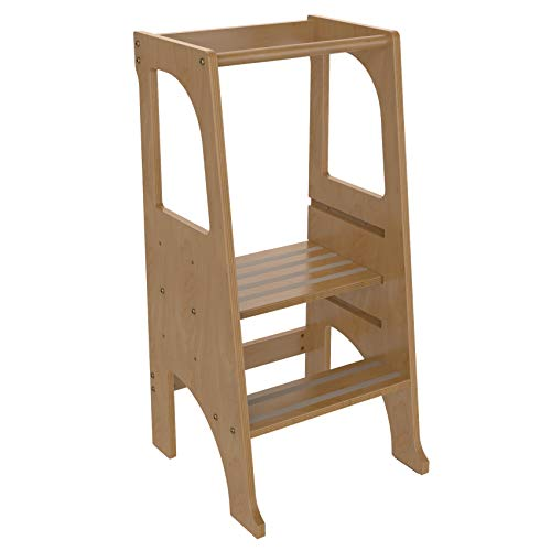 FUN & CARE Kitchen Step Stool for Kids with Safety Rail, Wooden Learning Toddler Tower, 3 Adjustable Platform, 2 Steps Design, Anti-Slip, Steady Feet - Nature