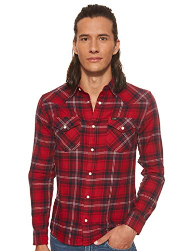 Lee Western Shirt Camisa, Warp Red Kg, XL para Hombre