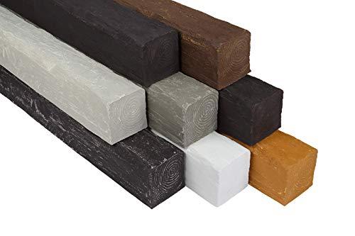 Balken | Holzoptik | Decke | PU | rustikal | Dekoration | Holzmaserung | Abdeckung | 2 Meter | 120x120mm | DB120-8 weiß