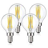 Lustaled Dimmable G16.5 Globe LED Light Bulbs, 4W Vintage G16 1/2 Candelabra Base Filament Bulbs Warm White 2700K E12 Edison Lights 40W Equivalent for Chandelier Vanity Ceiling Fan Lighting (4-Pack)