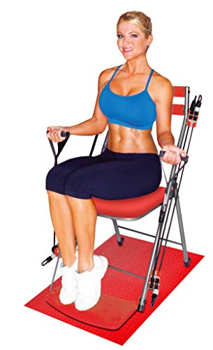 Chair Gym - The Total Body Workout – All in One Compact, Portable and Easy to Use at Home Exercise System Includes 5 Instructional DVDs + Bonus Twister Seat Ab Attachment As Seen on TV - RED