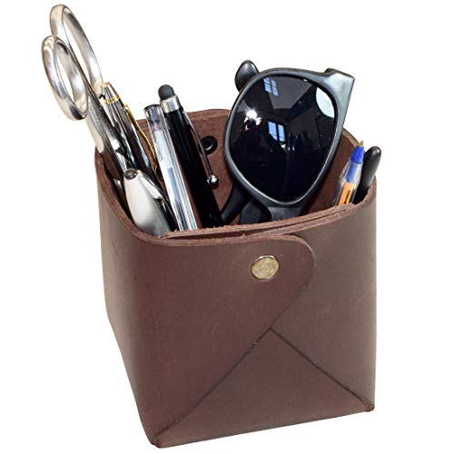 Hide & Drink, Leather Large Desk Organizer/School & Office Supplies/Decoration/Pen Case/Accessories, Handmade Includes 101 Year Warranty :: Bourbon Brown