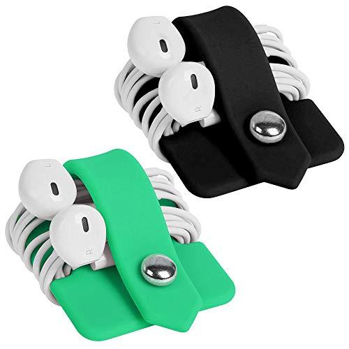 CODIRATO 2 PCS Cable de los Auriculares Bobinadora, Organizador para Auriculares Silicona Organizador para Cables para Trabajo y Viajes (Verde y Negro)