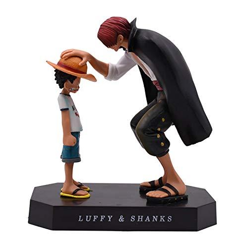 Anime One Piece Vier Kaiser Shanks Kindheit Strohhut Ruffy PVC Actionfigur, Shanks Touch Ruffy Head Figur Sammlermodell Geschenk, 17Cm
