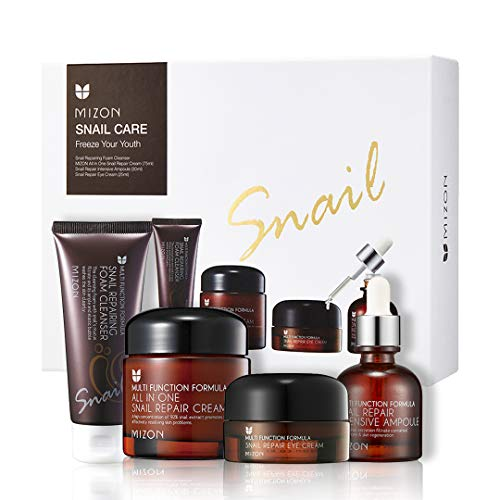 MIZON Gift Set: All-in-1 Snail Repair Cream, Snail Repair Intensive Ampoule, Snail Repairing Foam Cleanser and Snail Repair Eye Cream Korean Skincare Set