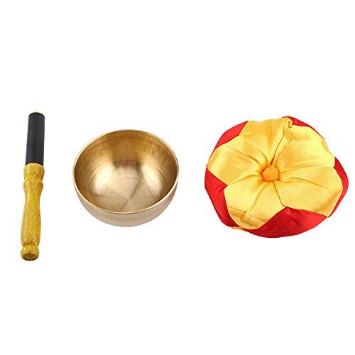 Cuenco de canto de budismo, 1 juego de cuenco de canto de latón para meditación de...