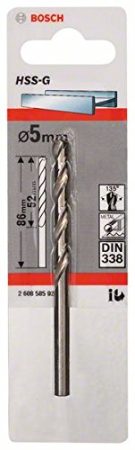 Bosch 2608585922 Metal Drill Bit Hss-G 5mmx52mmx3.39In
