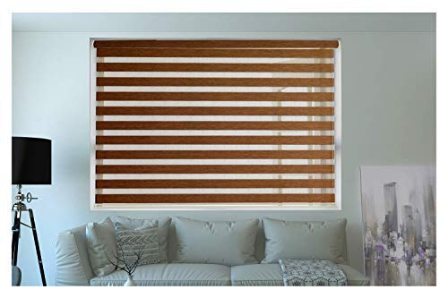 Zebra Blinds for Windows Or Outdoor - Decor The Home - Beige Colour (W50 X H180 cm, Wooden)
