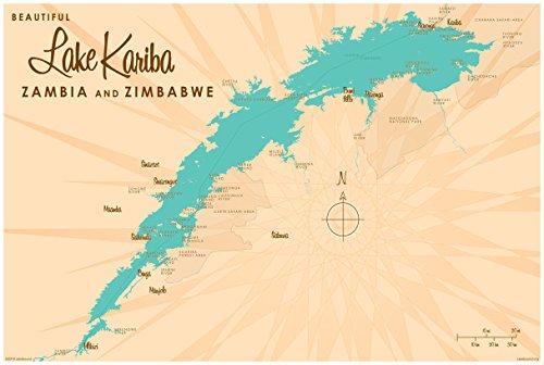 Lake Kariba, Zambia & Zimbabwe Map Giclee Art Print Poster by Lakebound 24' x 36'