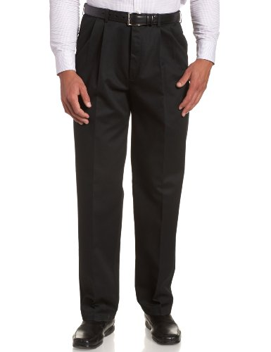 Haggar Men's Work To Weekend Khakis Hidden Expandable Waist No Iron Pleat Front Pant,Black,42x32