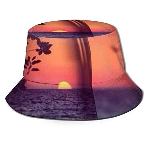 XCNGG Dusk Sea Scenery Sunset Seabirds Packbare Fischerei Jagd Sommerreise Bucket Cap Hat