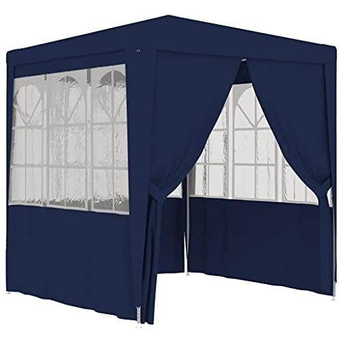 vidaXL Profi Partyzelt mit Seitenwänden UV-beständig Wasserbeständig Pavillon Festzelt Gartenzelt Bierzelt Gartenpavillon 2x2m Blau 90g/m²