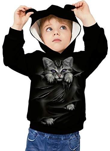 Socluer Sweat-Shirts à Capuche Enfant 3D Imprimé Chat Oreille Hoodie Poches Pull Sport pour...