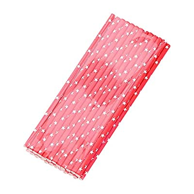 Fineday Paper Straws Disposable Holiday Party Drinking Straws Decoration Straws 25Pcs, Kitchen?Dining & Bar HotSales (Red)