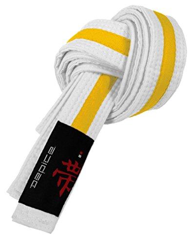 DEPICE Budogürtel weiß/gelb 220 zweifarbig – Zwischengürtel Kampfsportgürtel Karategürtel Judogürtel