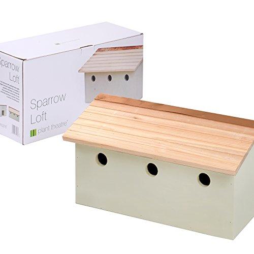 Plant Theatre Sparrow Loft - 3 Terrasse de nidification d'oiseaux - cadeau de jardin parfait