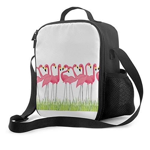 Bolsa de almuerzo, bolsa de hombro, con aislamiento de flamencos rosados cubanos con cierre de cremallera para mujeres, hombres, niños, bolsa térmica para el trabajo, picnic, escuela, barbacoas