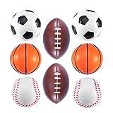SOIMISS 8 Pièces Mini Ballons De Sport Coupe du Monde Enfants Parti Balle Jouets Enfants PU Mousse Balles de Football de Basket- Ball Ballon De Rugby Baseball Le Soulagement du Stress Jeux