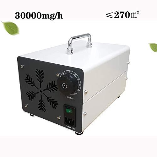 ZZQH Comercial Profesional Generador de Ozono, Purificador de Aire 220V Móvil Ozone Machine O3 con Temporizador para Hogar, Oficina, Humo,Automóviles y Mascotas,30000mg