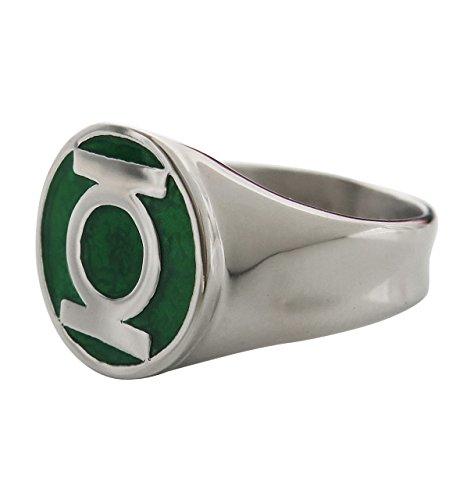 DC Comics Anillo de acero inoxidable para hombre con una clásica incrustación de esmalte verde verde