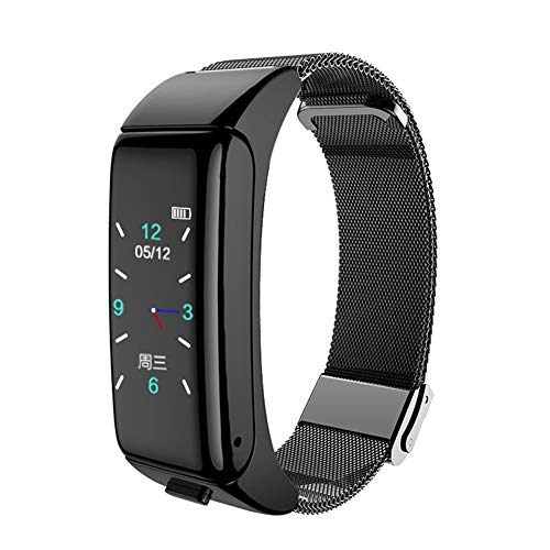 Smart Armband Horloge Stappenteller Monitoring Informatie Duw Armband Bluetooth Headset Twee-in-Een Antwoorden Telefoon Prachtige Kleur Scherm Staal Ketting Horloge Zwart