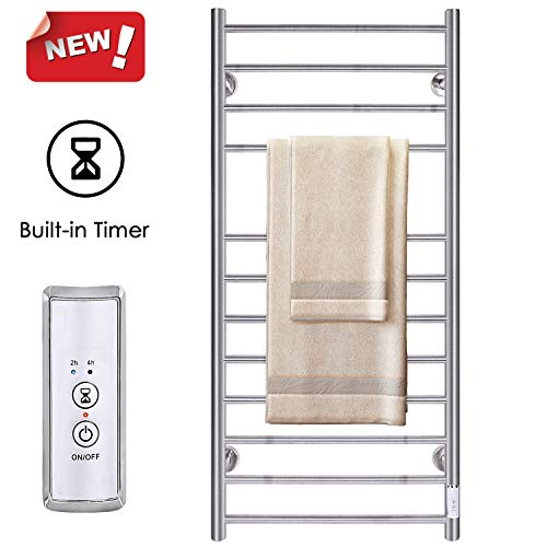 JSLOVE Heated Towel Rack Wall Mounted Towel Warmer for Bathroom,12 Bars Hot Towel Racks with Timer, Stainless Steel Towel Drying Rack, Brushed