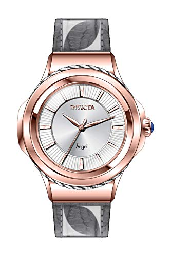 Invicta Women's Angel Stainless Steel Quartz Watch with Leather Strap, Grey, 18 (Model: 31111)