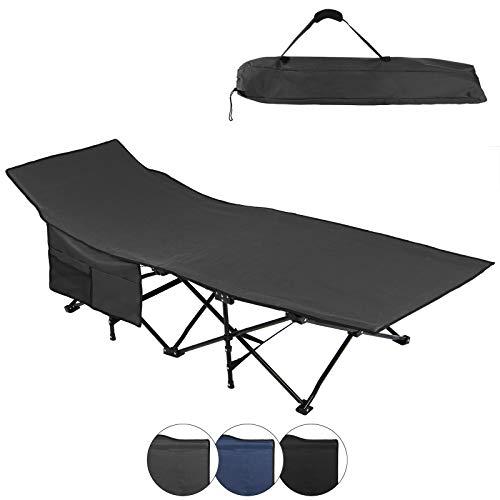 ALPIDEX Feldbett Campingbett Klappbar 190 x 67 x 52 cm Belastbar bis 120 kg Seitentasche Transporttasche Tragbar Faltbar, Farbe:Grey