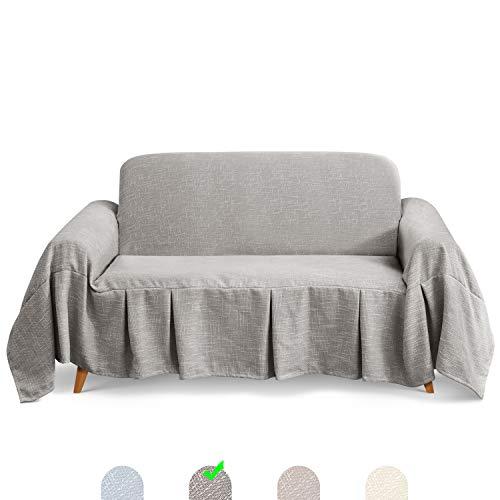 TAOCOCO Mehrzweck Sofabezug Sofadecke Leinen Sofa Überwurf für Couch Überzug Sofa Überzug (Grau, 2 Sitzer (260 x 210 cm))