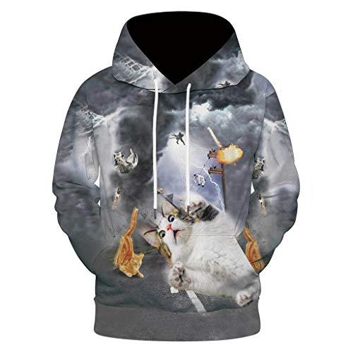 Longra heren-capuchon-sweatshirt met kangoeroezak ronde hals blouse A Dorabable kat print 3D shirt sweatshirt sweatshirt lange mouwen winter winddicht jack sweatshirt