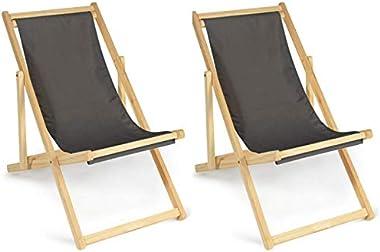 IDMarket - Lot de 2 chaises Longues Pliantes chilienne Bois Toile Gris Anthracite